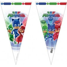 SAQUINHOS PARA SURPRESAS TRIANGULARES 20X40CM  PJMASKS PACK 6